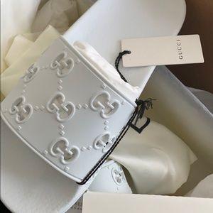 Gucci white slides